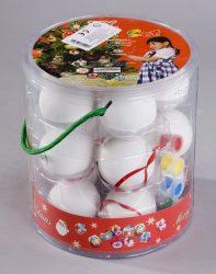 2101965501 15 db-os kerámia karácsonyi gömb dísz kifestő szett